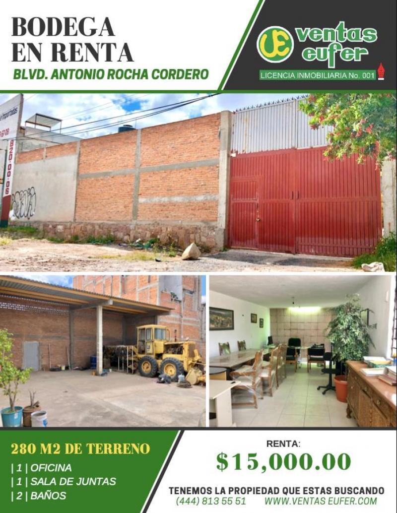Renta de Bodega  en San Luis Potosi en TIERRA BLANCA